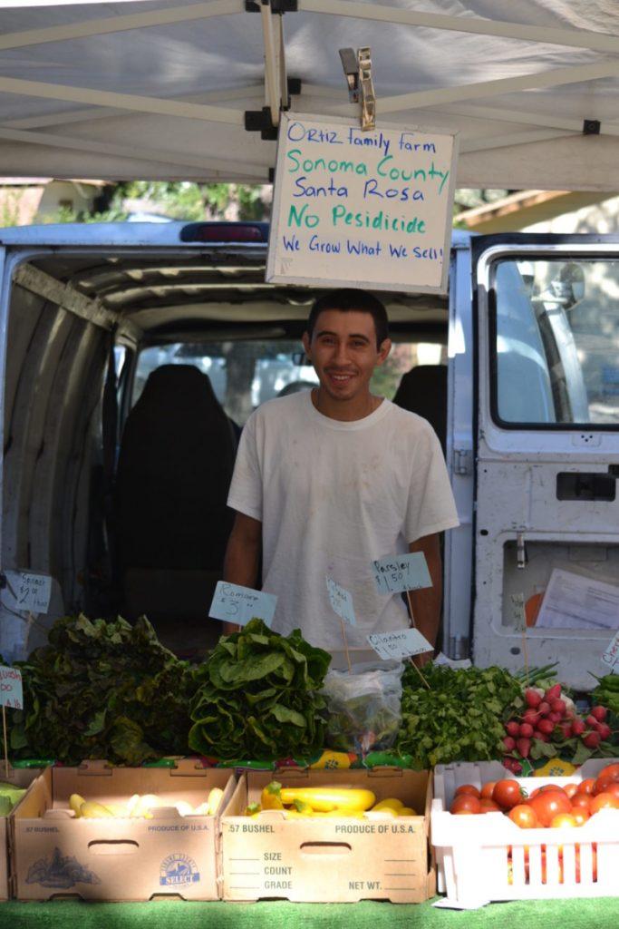 Eric Ortiz, owner of Ortiz Brothers in Santa Rosa brings varieties of veggies, seasonal fresh cut flowers and more.